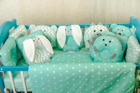 Комплект постельного белья для новорождённых Лесные зверята 09-02 мята-мята