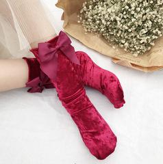 Бархатные женские носки с бантиком (гольфы) красные