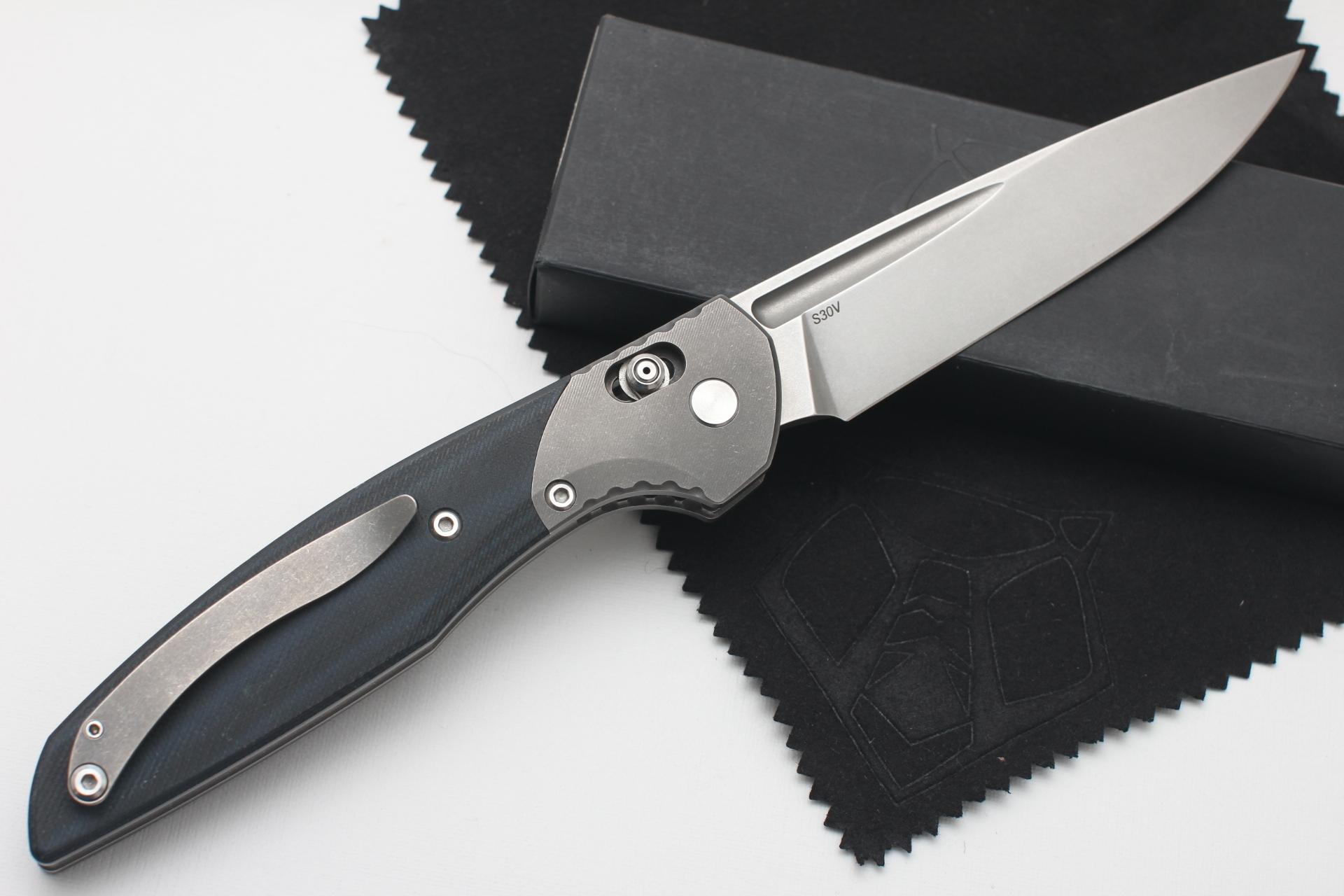 Нож Широгоров 110b S30V долы G10 3D черно-синяя - фотография