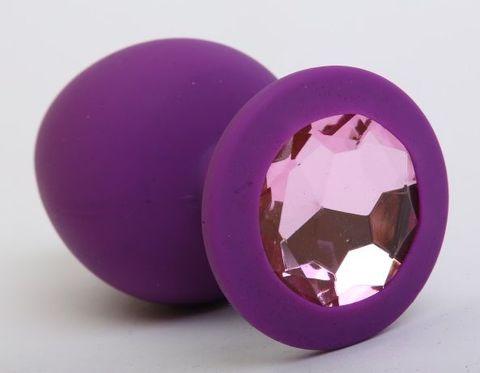Фиолетовая силиконовая пробка с розовым кристаллом - 7,3 см.