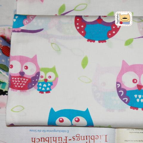 Ткань хлопок Польша П74 Фиолетовые совы на белом (80х50см)
