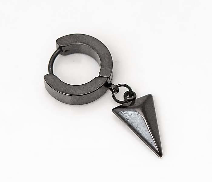 ER454-3 Черные серьги кольца с подвеской «Копье»