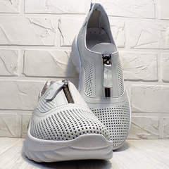 Перфорированные туфли спортивные женские Wollen P029-259-02 All White.