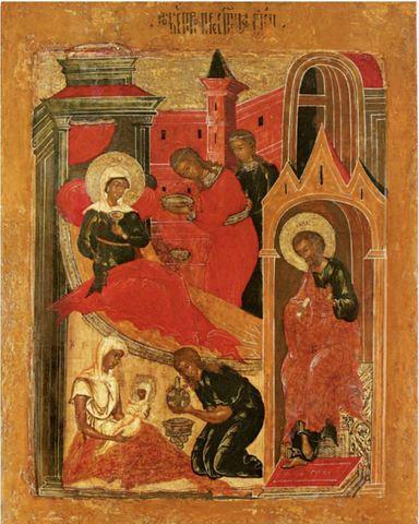 Икона Рождество Пресвятой Богородицы на дереве на левкасе мастерская Иконный Дом