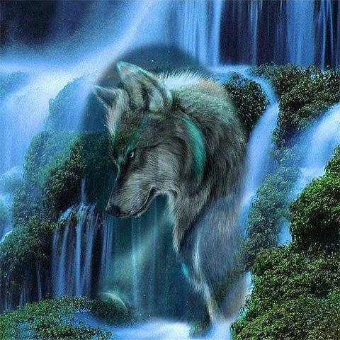 Алмазная Мозаика 40x50 Волк и водопад (арт. MGL3209 )