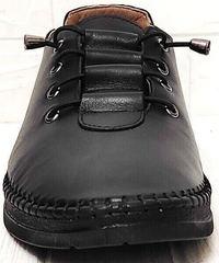 Кожаные кеды женские мокасины деловой кэжуал EVA collection 151 Black.