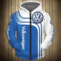 Толстовка утепленная с молнией 3D принт, Volkswagen (3Д Теплые Худи с молнией Фольксваген)