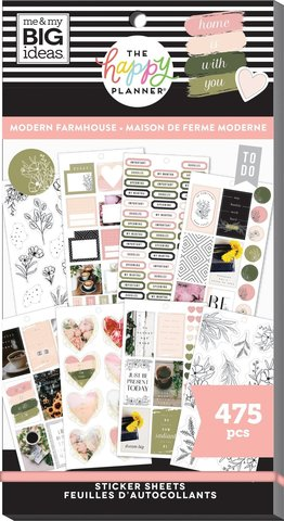 Блокнот со стикерами для ежедневника Create 365 Happy Planner Sticker Value Pack-BIG - Modern farmhouse, 475 шт