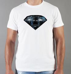Футболка с принтом Бриллиант (с бриллиантами, с камнями, diamonds) белая 001