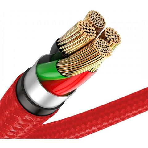 Кабель Baseus Horizontal Data Cable(With An Indicator Lamp)USB For iP 2.4A 0.5m Red