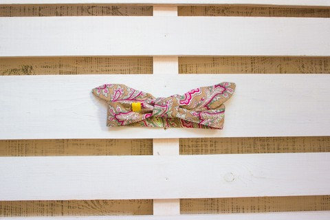 Повязка на голову (солоха) песочная с пейсли