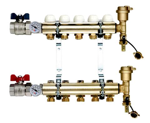 Коллектор Tiemme 1х3/4 ЕК-9 (на девять контуров) для радиаторного отопления