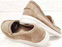 Осенние туфли лоферы замшевые женские Anna Lucci 2706-040 S Beige.