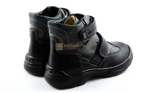 Ботинки Тотто из натуральной кожи демисезонные на байке для мальчиков, цвет черный. Изображение 8 из 11.