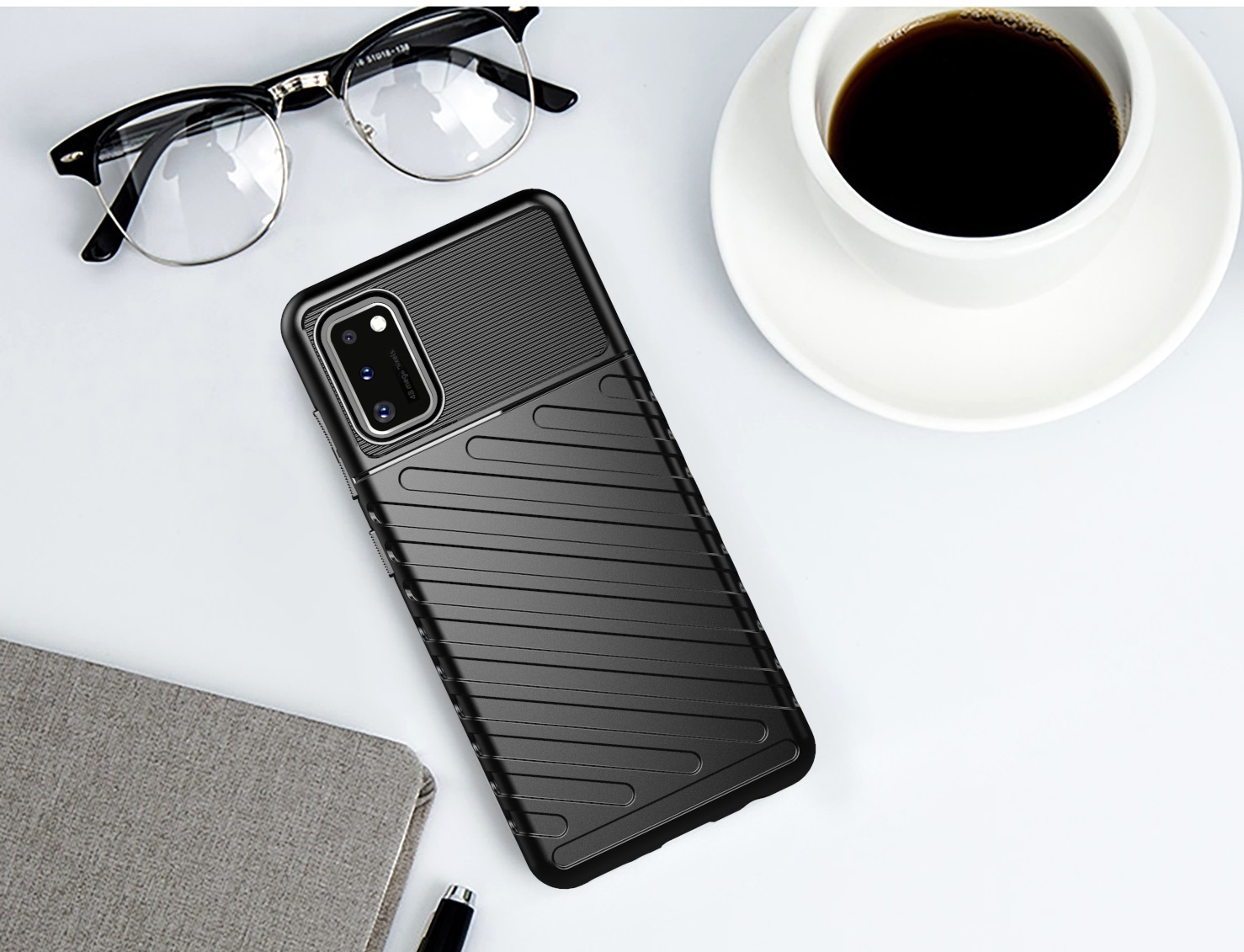 Чехол на телефон Samsung Galaxy A41 черного цвета, серия Onyx, Caseport