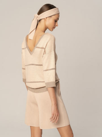 Женские шорты бежевого цвета из вискозы - фото 2