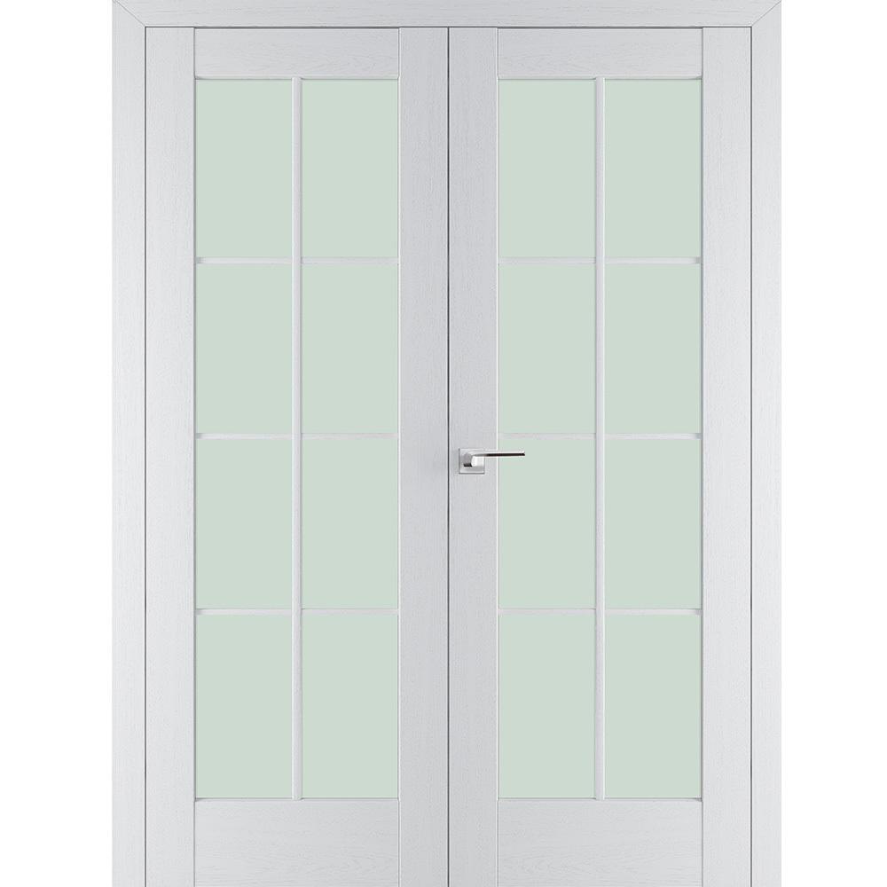 Двойные двери Межкомнатная дверь экошпон Profil Doors 101Х пекан белый распашная двустворчатая остеклённая 101x-pekan-beliy-por-dvertsov.jpg