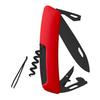 Швейцарский нож SWIZA D03 AllBlack, 95 мм, 11 функций, красный (подар. упак.)