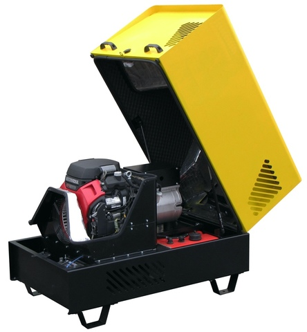 Бензиновый трёхфазный генератор G10THES в шумозащитном антивандальном всепогодном кожухе