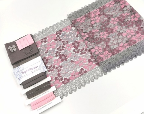Набор 1. Минимальный: для пошива бра без каркасов и трусиков. Серый и розовый пион (EK-2136)