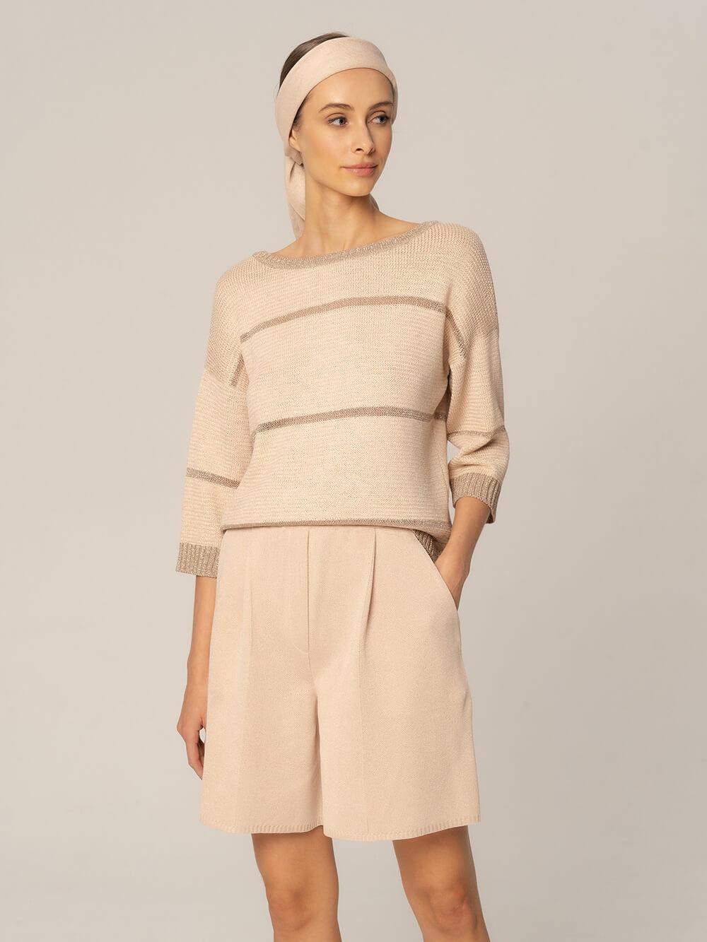 Женские шорты бежевого цвета из вискозы - фото 1