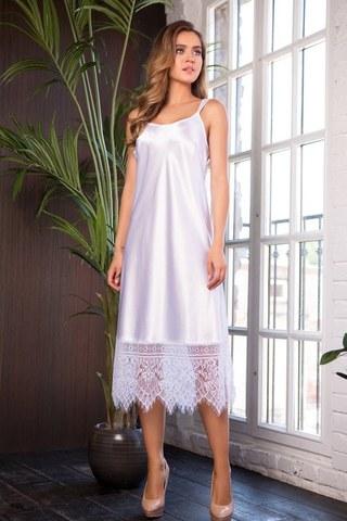 Элегантная длинная сорочка с кружевом Evelin (BS) белая