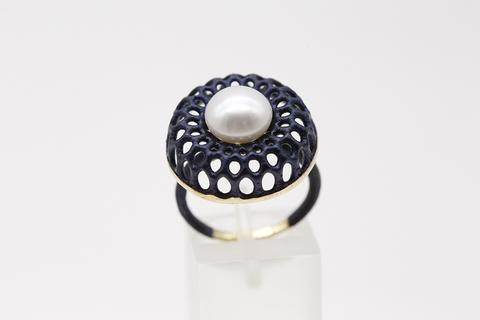 Кольцо из серебра с жемчугом и эмалью 51826Y1U ДеФлер
