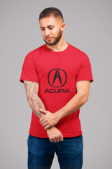 Мужская футболка с принтом Акура (Acura) красная 002