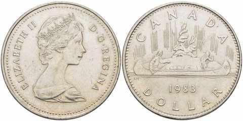 """1 доллар """"Индейцы на каноэ"""" 1983 год UNC"""