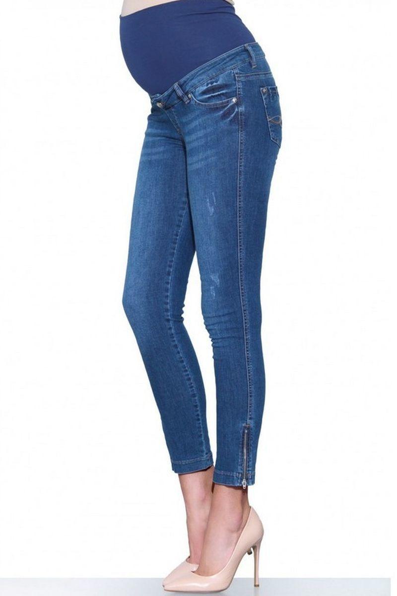 Фото джинсы для беременных EBRU, зауженные, высокая трикотажная вставка из стрейчевого денима от магазина СкороМама, голубой, размеры.