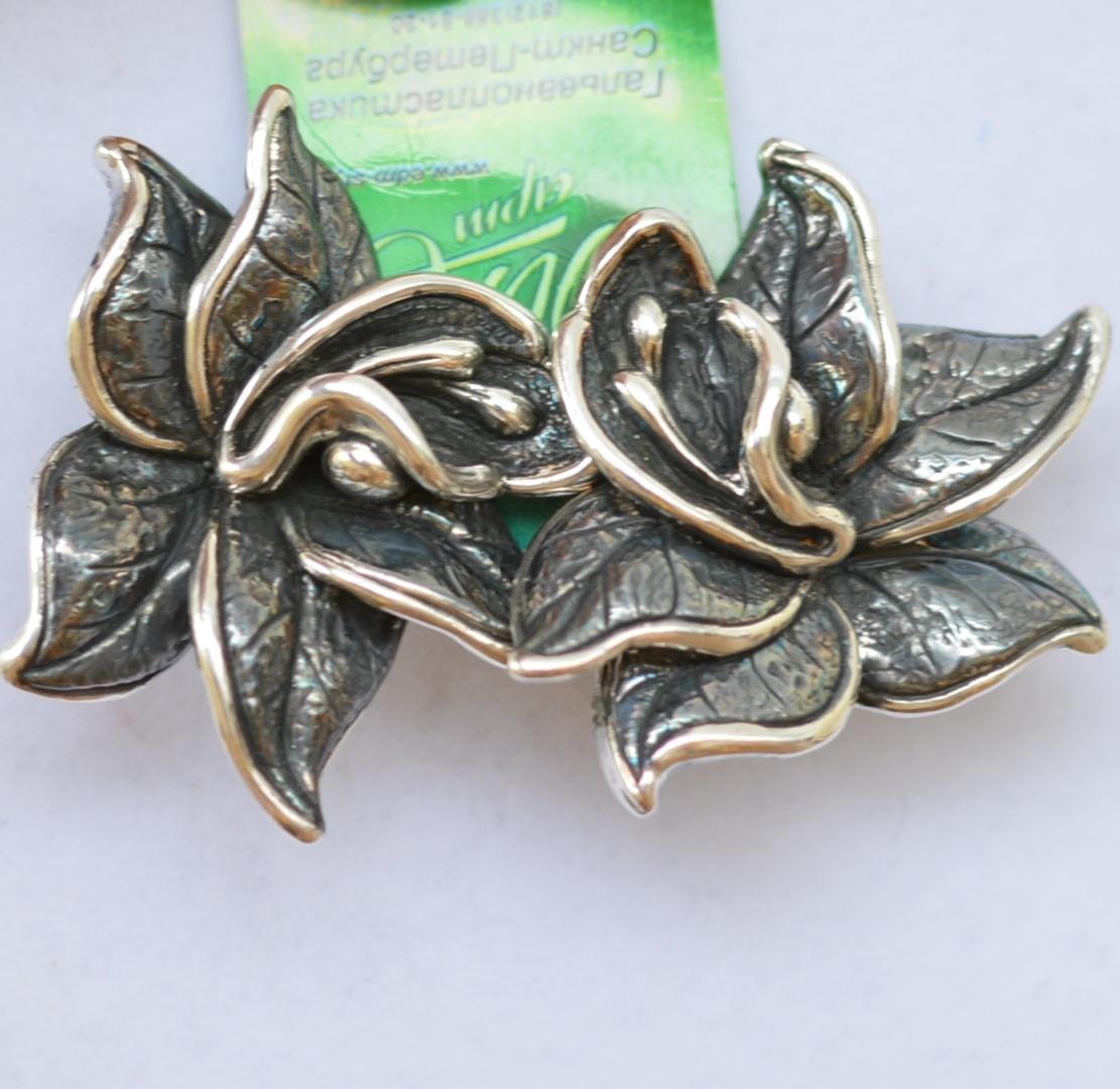 Цветок востока (серьги из серебра)