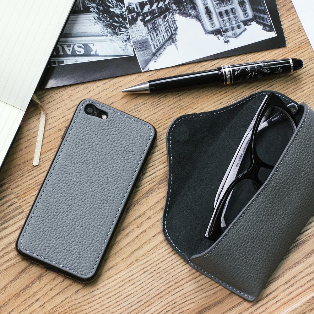 Чехол-накладка для iPhone 8/SE из натуральной кожи теленка, стального цвета