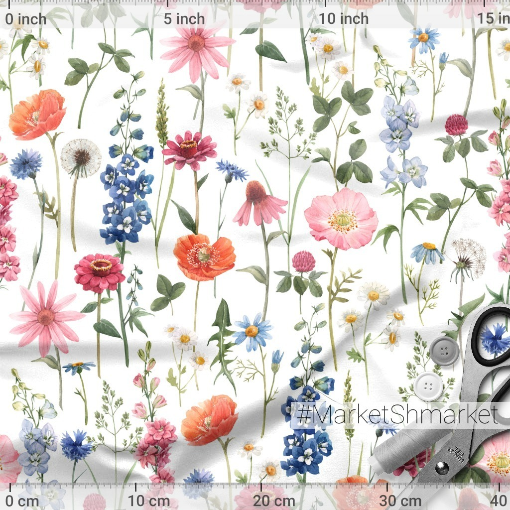 Полевые цветы. Watercolor Flower Pattern