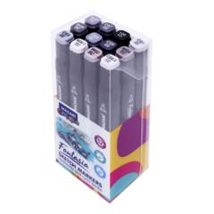 Mazari Fantasia набор маркеров для скетчинга 12 шт двусторонние спиртовые пуля/долото 3.0-6.2 мм (серые)