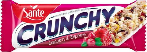 Батончики мюсли Crunchy с клюквой и малиной в ванильной глазури, 40г