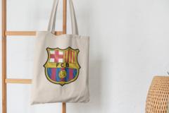 Сумка-шоппер с принтом FC Barcelona (ФК Барселона) бежевая 005