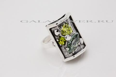 Кольцо с самоцветами из серебра 925