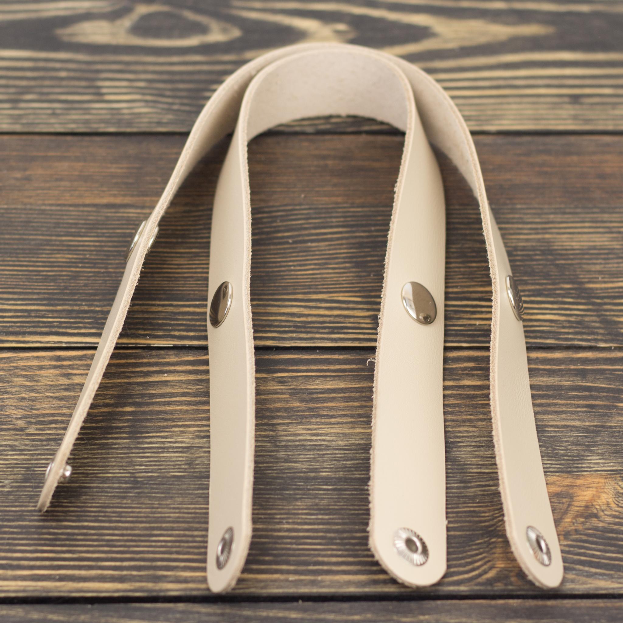 Вся фурнитура Ручки кожаные на кнопках для корзинки Кремовые 2 штуки. IMG_3612.jpg