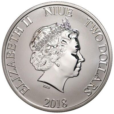 2 доллара. 90 лет созданию образа Микки Мауса. Ниуэ. 2018 год