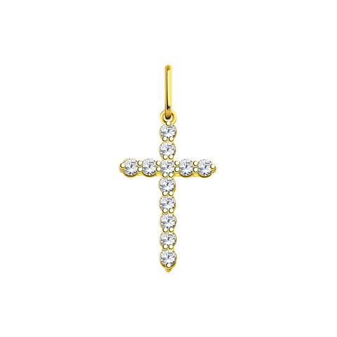 л3151 -Крест из лимонного золота с фианитами