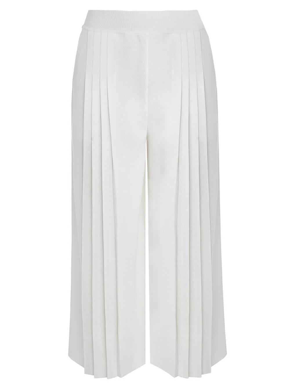 Женские брюки белого цвета из вискозы - фото 1