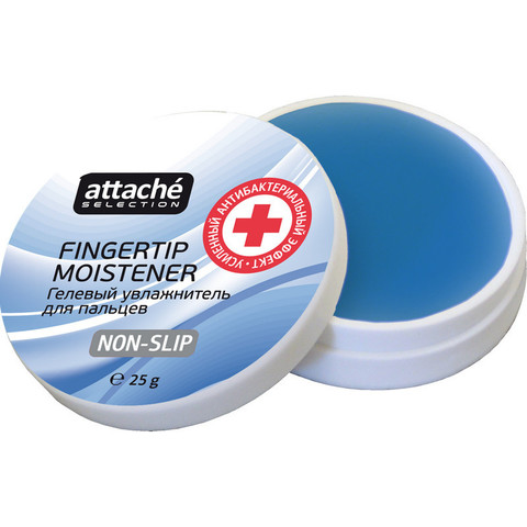 Подушка для смачивания пальцев гелевая Attache Selection с усиленным антибактериальным эффектом 25 г