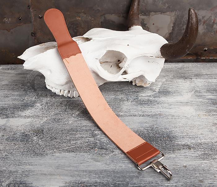 RAZ105 Кожаный ремень для правки опасной бритвы с рукояткой фото 03