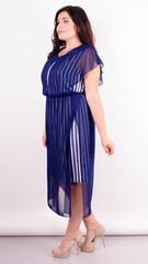 Фея. Сукня плюс сайз для особливого випадку. Смуга + синій.