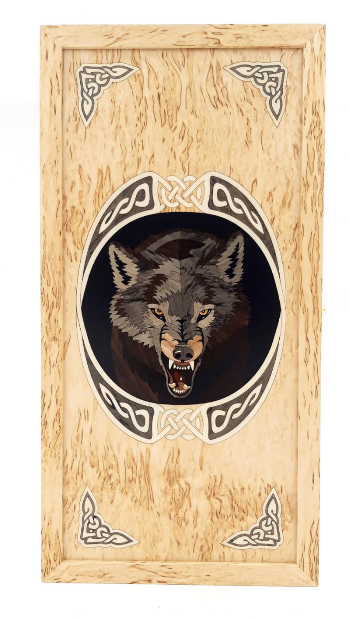 Нарды из карельской березы  Волк