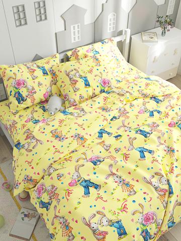 Простынь на резинке  -Зайчики- натяжная 90х200х26 см 1,5-спальная