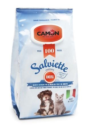 Camon Влажные салфетки для животных с ароматом амбры