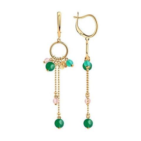 83020154 - Серьги из золочёного серебра с цветными агатами