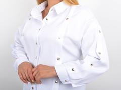 Ліка. Офісна жіноча блуза на великий розмір. Білий.