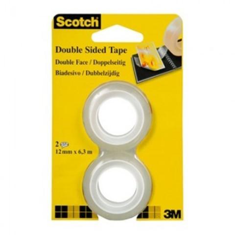 Скотч Клейкая лента канцелярская Scotch двусторонняя прозрачная 12 мм x 6.3 м (2 штуки в упаковке)